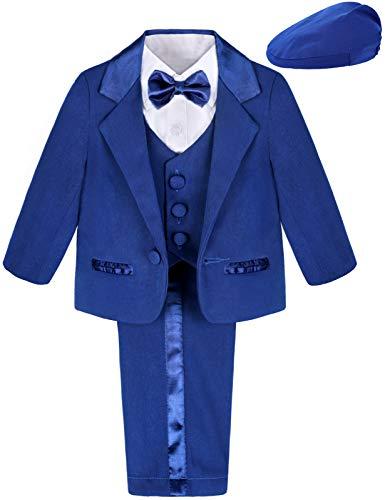 mintgreen Conjunto Ropa Esmoquin Bebés, 5 Piezas Niño Formal Ceremonia Traje Boda con Sombrero, Azul, 6-9 Meses