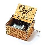 Evelure Caja de música de Madera de Queen, Cajas de música de Madera talladas a Mano y creativos tallados a Mano Los Mejores Regalos (C-Wood)