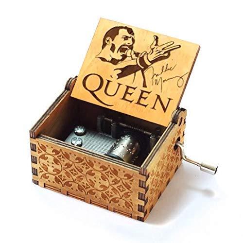 Evelure Hölzerne Spieluhr von Queen handgeschnitzte Spieluhren aus Holz und kreative handgeschnitzte Geschenke (C-Wood)
