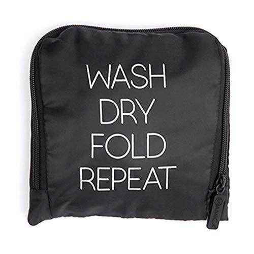 Miamica Reise-Wäschesack, Waschen, Trocknen, Falten, Wiederholen, schwarz (Schwarz) - M31430