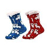 Gather Other 2 pares Mujer Hombre Navidad Calcetines Invierno Calentar Pantuflas de Estar Por Casa Super Suaves Cómodos Calcetines Antideslizante Alpaca