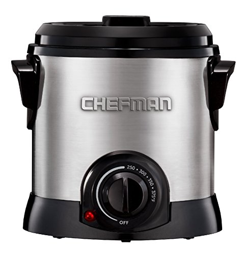 Chefman Fry Guy Deep Fryer with Removable Basket, Easy-to-Clean Non-Stick Coating and Cool-to-Touch Exterior, Adjustable Temperature Control, 4.2 Cup/ 1 Liter Capacity, Stainless Steel