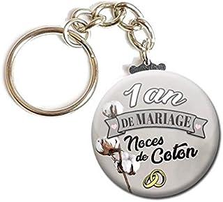 Porte Clés Chaînette 3,8 centimètres 1 An de Mariage Noces de Coton Idée Cadeau Accessoire Accessoire Anniversaire Mariage...