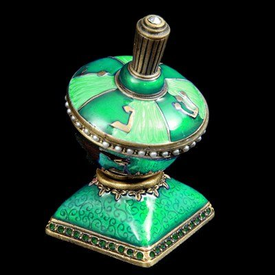 Hanukah Dreidel Enamel Decorative Green and Light Green Design Accentuated with Jewels