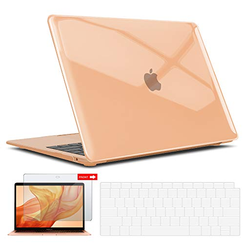 IBENZER New 2021 MacBook Air 13 inch Case M1 A2337 A2179 A1932, Hard Shell Case & Keyboard Cover & Screen Film for Apple Mac Air 13 Retina Display with Touch ID (2018-2021), Crystal Clear, AT13CYCL+2