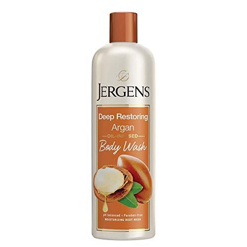 Jergens Deep Restoring Argan Body Wash, Daily Moisturizing Skin Cleanser, Paraben Free, 22 Ounces, Infused with Nourishing Argan Oil, pH Balanced, Dye Free, Dermatologist Tested