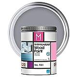 Pintura para Madera | 1 L | Pintura Interior RAL 7001 | Laca para Madera Antimicrobios | Protege y Embellece la Madera de los Muebles | Aspecto Cálido y Satinado | Color Gris plata