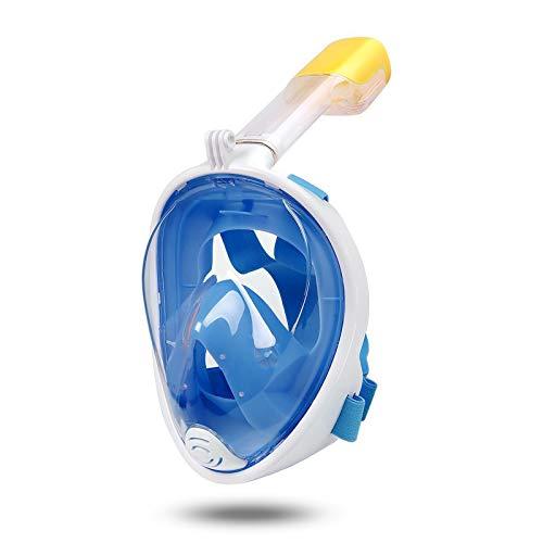 Lamker Máscara de Snorkel de Cara Completa 180° Panorámica Vista Máscaras de Buceo Cámara Deportiva Compatible Anti-Niebla Anti-Fugas Gafas de Bucear para Adultos y Mujer