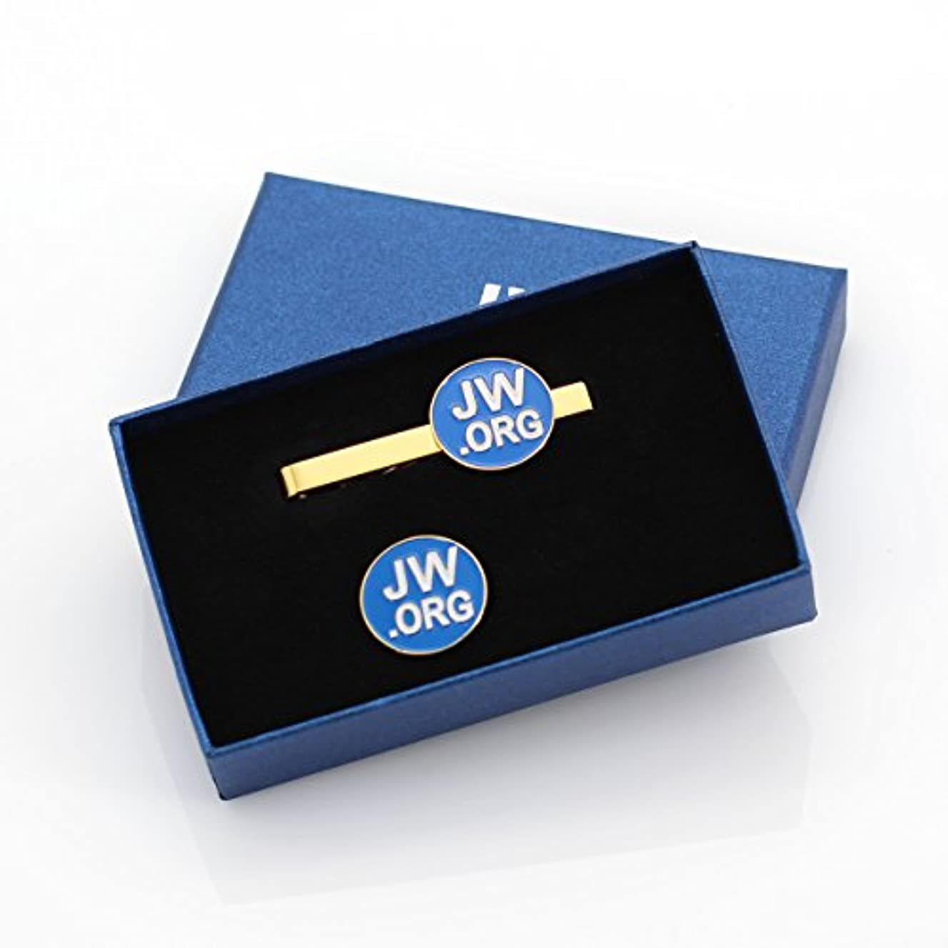 Round Jw.org Metal Necktie Clip and Lapel Pin Set with Gift Box -Blue Background-Gold Color