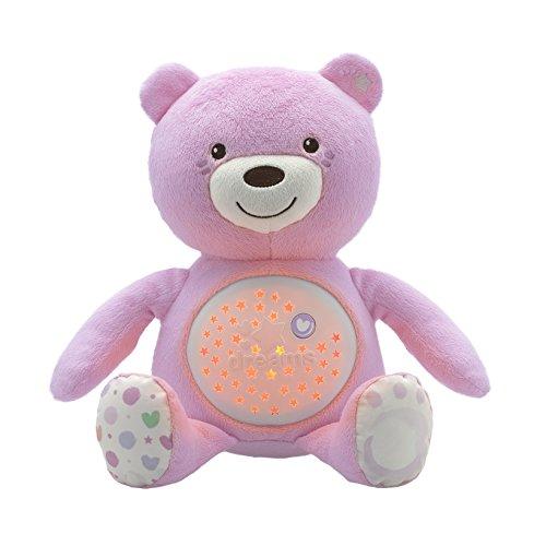 Chicco First Dreams Baby Bär Plüsch-Teddybär, weicher Projektor mit Nachtlicht, Lichteffekten und entspannenden Melodien, Rosa - Kinderspielzeug 0+ Monate