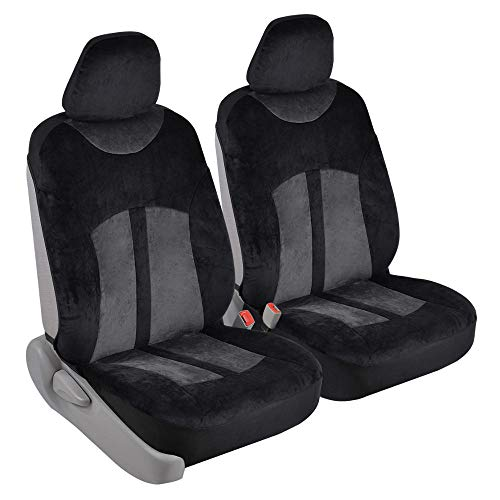 Velvet Smooth Velour Car Seat Covers for Front Seats Only, Black & Charcoal Gray - Universal Fit for Cars, Trucks, Vans and SUVs