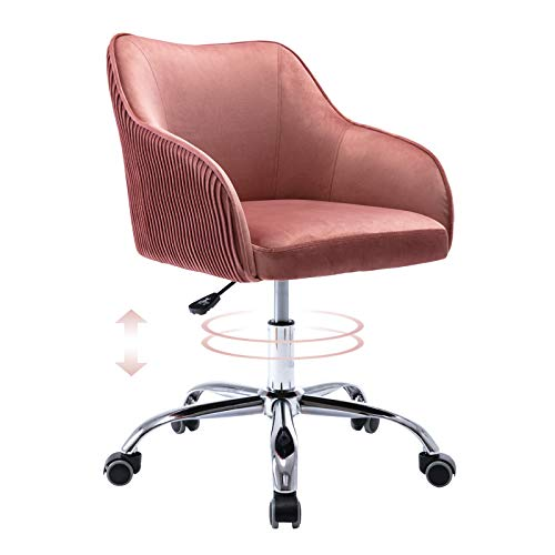 Cute Pink Desk Chair for Teens Girls, Upholstered Home Office Computer Desk Chairs with Wheels and Arms, Comfy Velvet Fabric Swivel Rolling Task Chair for Bedroom Study Room Living Room by Supernova