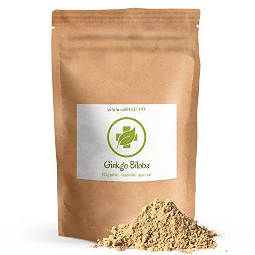 Ginkgo Biloba Pulver - 100 g - rein pflanzliches Produkt - in bewährter Rohkostqualität - fein vermahlen - 100{2e8e93c53445cfce5571b935be40cf65c6084a4098838f72b0aa13bd72d6eb72} vegan und rein - glutenfrei, laktosefrei - OHNE Hilfs- u. Zusatzstoffe