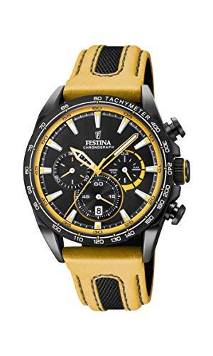 Festina Unisex Erwachsene Chronograph Quarz Smart Watch Armbanduhr mit Leder Armband F20351/4