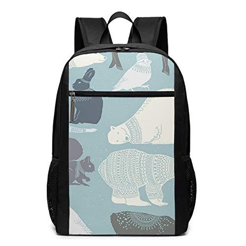 Sac à Dos Décontracté Scolaire Cartable Sacs école pour Garçons Filles Homme Femme Sac De Camping Voyage Laptop Backpack Pull Ours Polaires