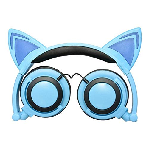SFBBBO headset Glowing Cat Ear Headphones Children Gaming Over Ear Stereo Headphones 3.5mm Jack For Mobile Phone Computer Gifts blue