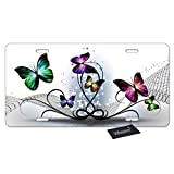 WONDERTIFY License Plate Colorful Butterflies Abstract Decorative Car Front License Plate,Vanity Tag,Metal Car Plate,Aluminum Novelty License Plate for Men/Women/Boy/Girls Car,6 X 12 Inch (4 Holes)