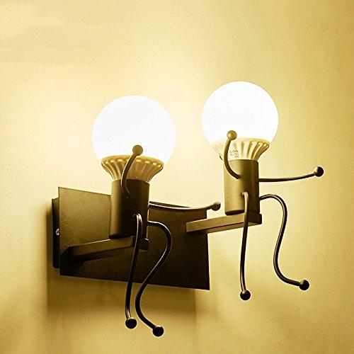 Iro forgé moderne créative Peinture Salon Chambre à coucher mur de chevet Lampe lumière, Art Villain Couloirs Chambre Enfants Wall Lamp,Black,5 Watts lumière chaude