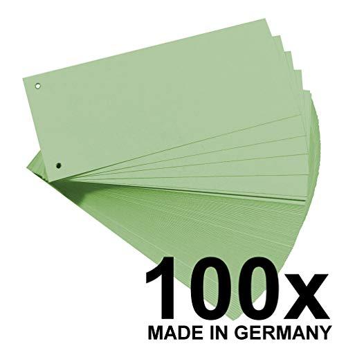 Original Falken 100er Pack Karton-Trennstreifen. Made in Germany. 10,5 x 24 cm grün Trennlaschen Trennblätter Ordner Register Blauer Engel