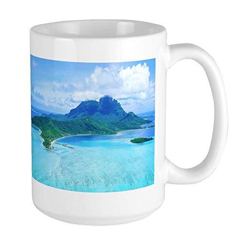 Taza Mug Tazas BORA BORA TAHITI Taza grande Taza de café Taza de café blanca 330Ml