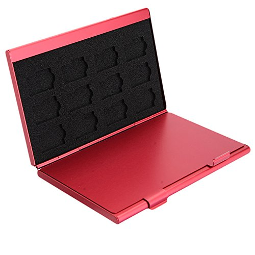 Caja de Almacenamiento deTarjeta de Memoria de Aluminio Caja Protectora. Sostiene 4 x Tarjetas SD, 8 x Tarjetas Micro SIM (Rojo)
