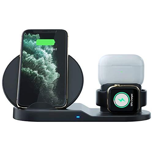 GPISEN Cargador Inalámbrico Rápido 3 en 1-Qi 10 W para Soportes de Carga de para Phone 12/Phone 11/Pro MAX/X/XSMax/8, Samsung S20/S10+/Note10/S10E/S9/Note 9/S8/Note8 (NO Adaptador)