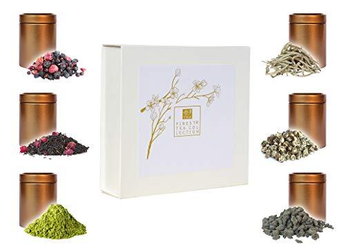TEEROSE - Tee Geschenkset mit 6 Teespezialitäten wie Silver Needle Weißtee, Matcha, Ginseng Oolong, Drachen Perle, Schwarztee und Früchtetee, Tee Geschenk in Geschenkbox gerne für Frauen, Teekenner