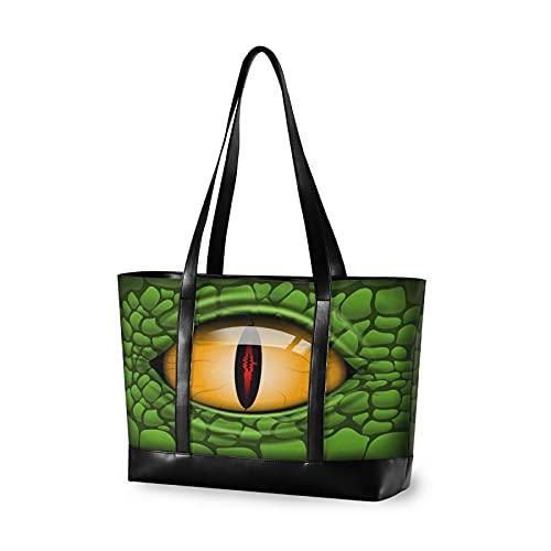 YVONAU Animal Demon Dinosaur Eye Laptop Tote Bag for Women, Fits 15.6Inch Laptop, Canvas Leather Shoulder Bag Large Capacity Computer Handbag Professional for Work Business