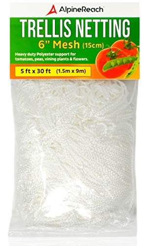 AlpineReach Trellis Netting 5 x 30 Feet Heavy Duty Polyester White  6 Inch Mesh Support Twine for Growing High Yield Tomatoes Peas Vine Climbing Plants Fruits Vegetables  Strong Garden String Net