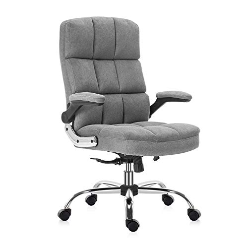 SEATZONE High Back Fabric Home Office Chair with Swivel, Executive Computer Desk Chair with Adjustable Back Tilt and Flip-up Armrest, Comfy Thick Padding Ergonomic Office Chair (Grey)