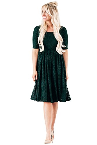 Emery Modest Dress In Emerald Green Lace - Modest Bridesmaid Dress In Dark Green