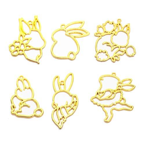 Baiyao Colgantes de marco de bisel abierto, diseño de conejo de dibujos animados, colgantes de conejo con lazo, 6 estilos para manualidades de resina UV, joyería de oro