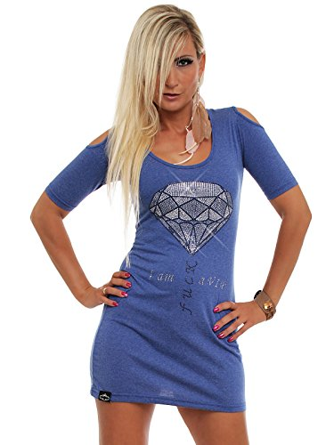 Makey Damen Kleid Buddha Diamond Spezial Edition Long Shirt, Farbe:Blau, Größe:XS
