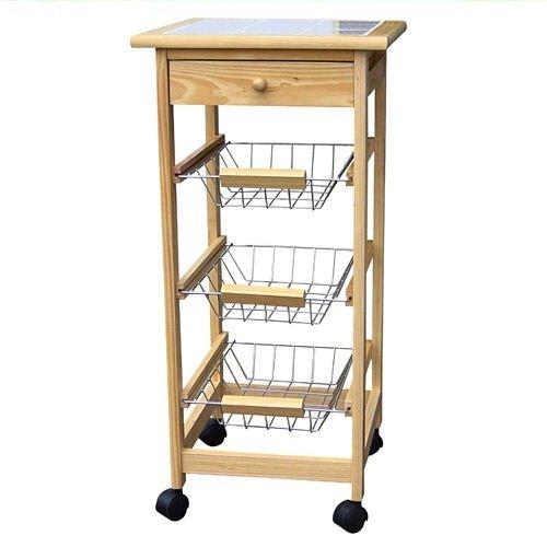 Spetebo Holz Küchenwagen auf Rollen mit Schublade und 3 Ablagekörben
