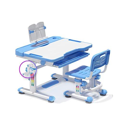 YFC Schreibtisch Set 3 Stück, höhenverstellbarer [Handkurbel], ergonomischer Kinderschreibtischstuhl, Schubladenablage-Bücherständer, Federmäppchen (Color : Blau)