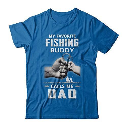 TeesNow Men's My Favorite Fishing Buddy Calls Me Dad Fish Fathers Day Shirt Short Sleeve Tee (Royal, 5XL)