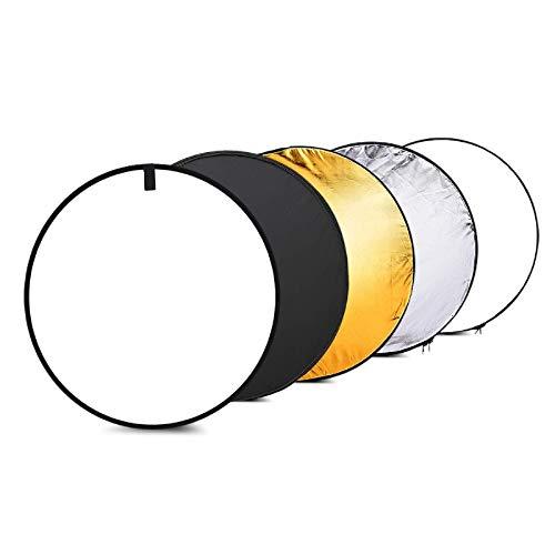 """撮影用 レフ板 24""""60cmディスク5in 1(ゴールド、シルバー、ホワイト、ブラック、半透明)マルチポータブル折りたたみ式写真スタジオフォトライトリフレクター 人物撮影に適用"""