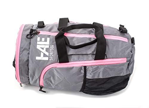 HALE | práctica bolsa de deporte mochila gris/rosa con fijación para raquetas de fútbol para hockey, squash, bádminton, hockey sobre hielo