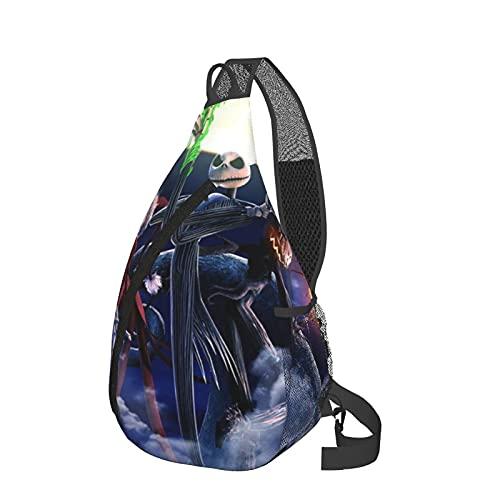 Jack Skellington Santa Leisure Sling Mochila, bolso de mensajero multifuncional, deportivo, portátil, senderismo, viajes, hombres y mujeres