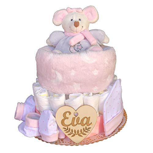 Tarta de pañales recién nacido niña un piso modelo Dulce ratoncita con corazón personalizado de regalo, peluche sonajero de felpa, mantita, conjunto gorrito, manoplas y peúcos.