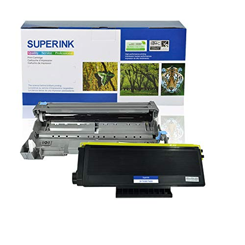 SuperInk 2 Pack Toner Cartridge and Drum Unit Set Compatible for Brother TN650 TN-650 DR620 (1 Toner, 1 Drum) use in HL-5340D HL-5350DN DCP-8050DN DCP-8080DN DCP-8085DN MFC-8370 MFC-8480DN Printer