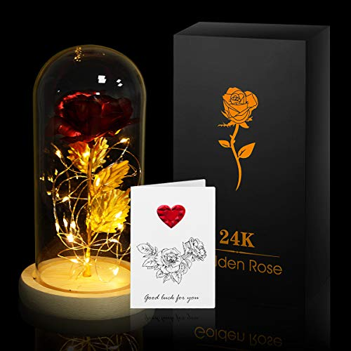 [24k Rose Flower Set] - incluye 1 tarjeta de felicitación y 1 pieza de lámina de oro rosa de 24k, tira de luz LED, cúpula de vidrio, base de madera y caja de regalo (necesita comprar 3 baterías AAA usted mismo). [Sobre el tamaño] - el diámetro de la ...