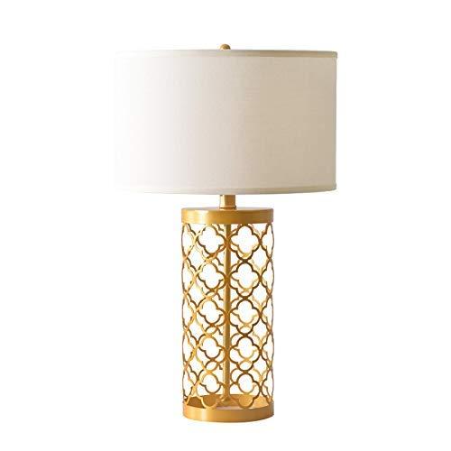 Lámpara de Mesa Americana Lámpara de Mesa Moderna Hueca Dorada Lámpara de Mesita de Noche Sala de...