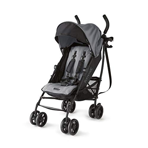 Summer 3Dlite+ Convenience Stroller, Matte Gray  – Lightweight Umbrella Stroller with Oversized Canopy, Extra-Large Storage and Compact Fold