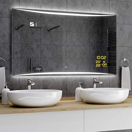 Alasta® LED Badkamerspiegel - 70x120 cm - Model Vilna - Spiegel met Aanraaklichtschakelaar en Weerstation P1