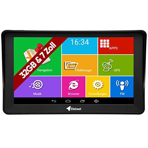 Elebest Pro A60 Navigationsgerät Großes 7 Zoll (17,8 cm) Touchscreen Display, Android, WiFi, Radar, Tablet PC, Für Wohnmobil, LKW, PKW, 32GB Speicher, Bluetooth, Kostenlose Kartenupdate,GPS