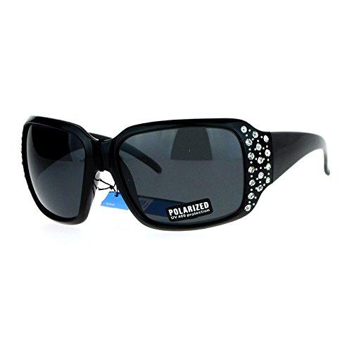 SA106 Polarized Lens Oversize Rhinestone Bling Sparkling Womens Sunglasses All Black
