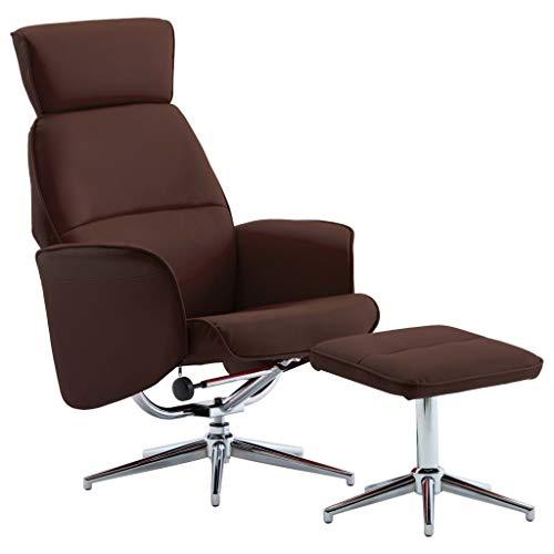 UnfadeMemory - Juego de tumbonas y reposapiés, piel sintética, acolchada, sillón reclinable y reposacabezas (79 x 84 x 113 cm), color marrón