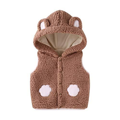 Bambini Gilet con Cappuccio, Neonato Vest Invernale Fleece Smanicato Snowsuit Outfits Giubbotto Giacca Outwear Vestiti Regalo 1-2 Anni,Marrone