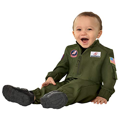 amscan Top Gun Suit Baby Costume 12-24 months - 1 Pc, green